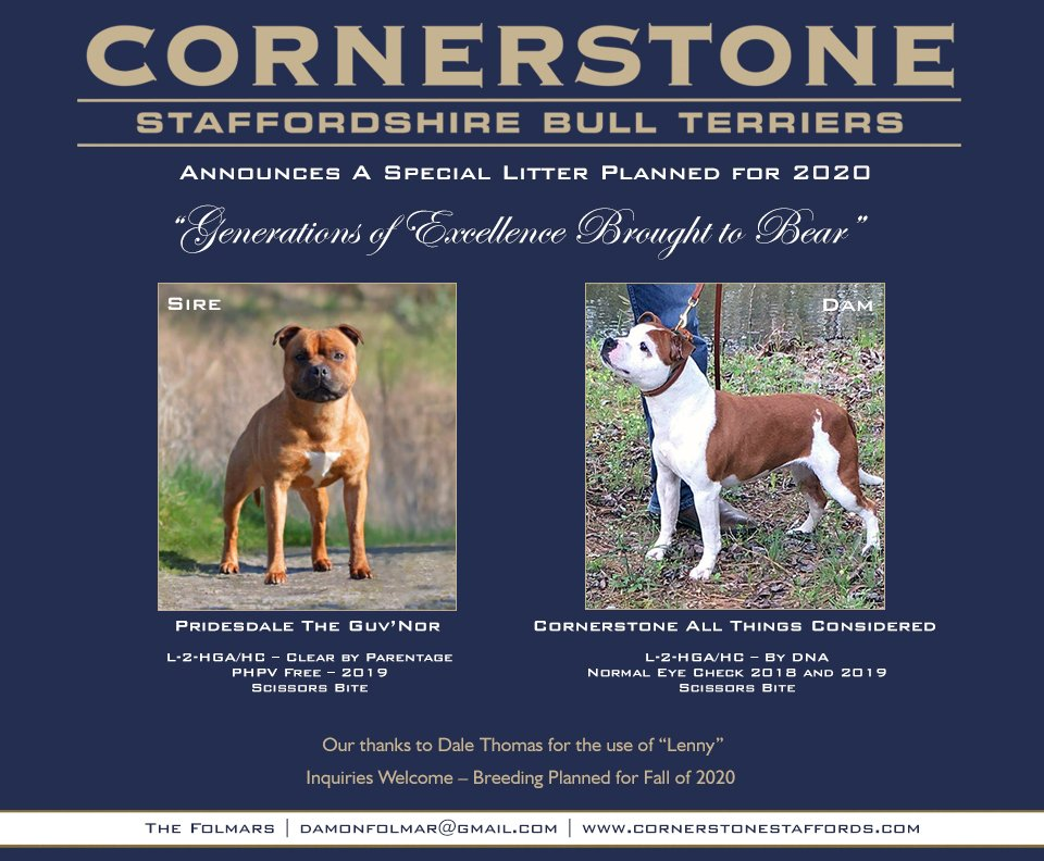 Cornerstone announcing a new litter planned for 2020.